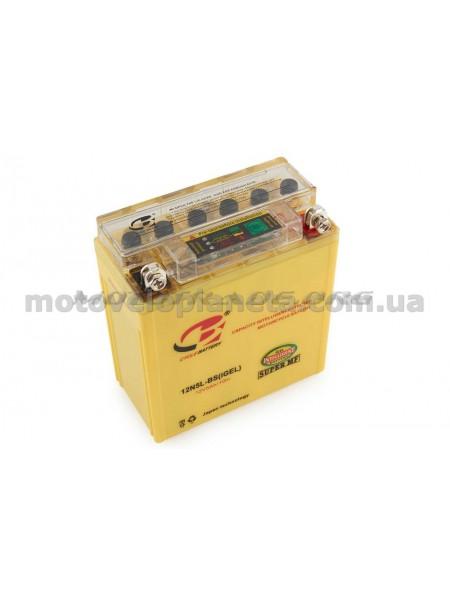 АКБ   12V 5А   гелевый   (высокий)   (119x60x128, желтый, с индикатором заряда)   RGC, шт