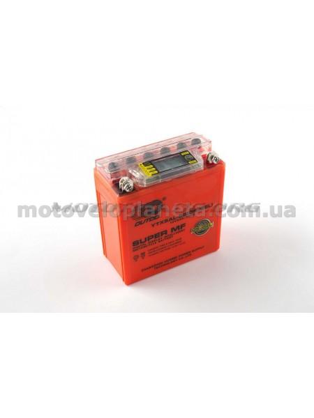 АКБ   12V 5А   гелевый   (высокий)   (119x60x128, оранжевый, с индикатором заряда, вольтметром)   OUTDO, шт