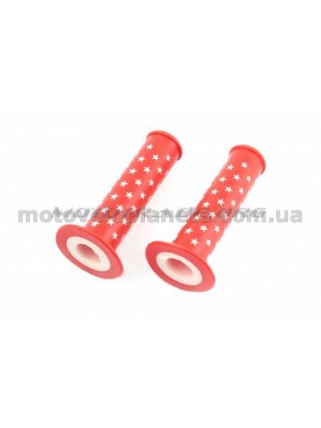 Ручки руля велосипедные   (красная,звезды)   (mod:1)   YKX, компл.