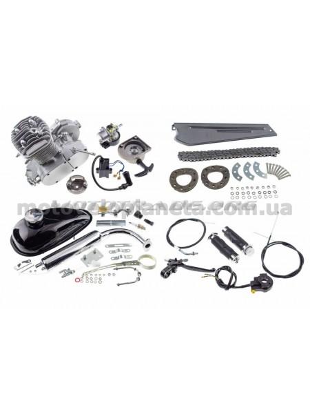 Двигатель велосипедный (в сборе)   80сс   ( мех. стартер, бак, ручка газа, звезда, цепь)    KOMATCU, шт