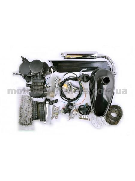Двигатель велосипедный (в сборе)   80сс   (мех.старт., бак, ручка газа, звезда, цепь)   (черный)   EVO, шт