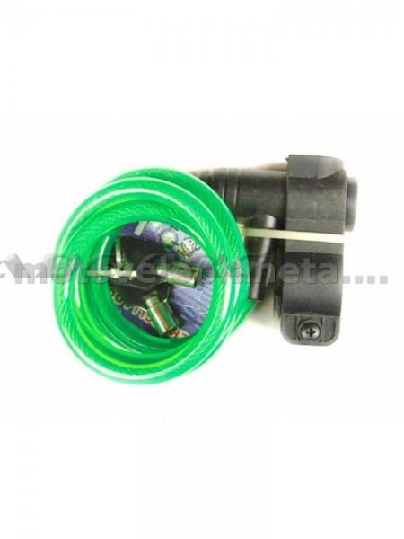 Замок на колесо   (трос 1200*10mm) (с ключом)    (зеленый) 87201   KL, шт