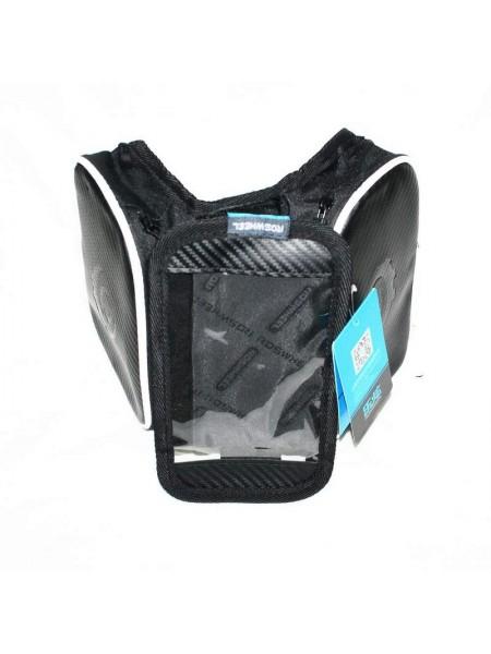 Велосипедная сумка на раму (для инструмента и смартфона 4.8″ , водонепроницаемая, чёрная,ROSWHEEL) (#MD), mod:GA-46-2