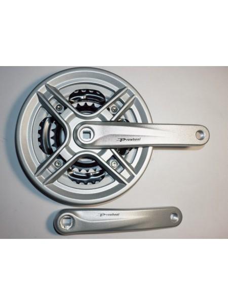 Шатун система, PROWHEEL, алюминиевая mod:CM03 28-38-48зуб (18) , серебро (#MD)