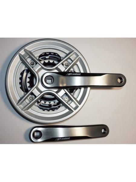 Шатун система, PROWHEEL, алюминиевая mod:CN03 28-38-48 зубов (16) , серебро (#MD)