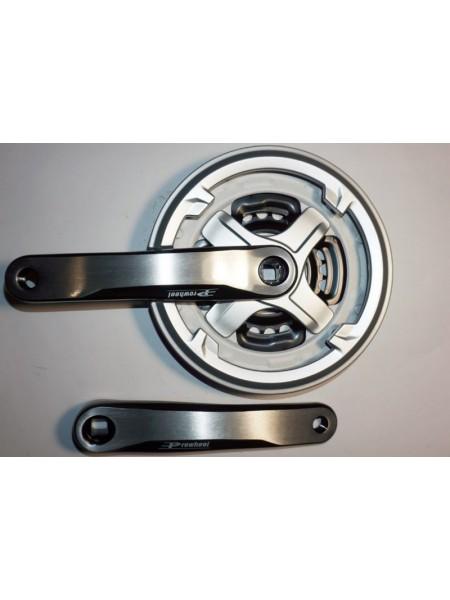 Шатун система, PROWHEEL, алюминиевая mod:CN68 , 24-34-42 зуб (04) , серебро(#MD)