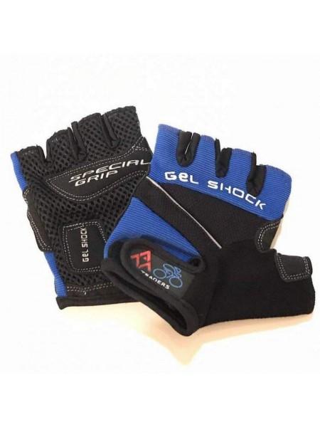 """Перчатки вело """"Gel Shock"""" (без пальцев, гелевые, черно-синие, size:M)"""