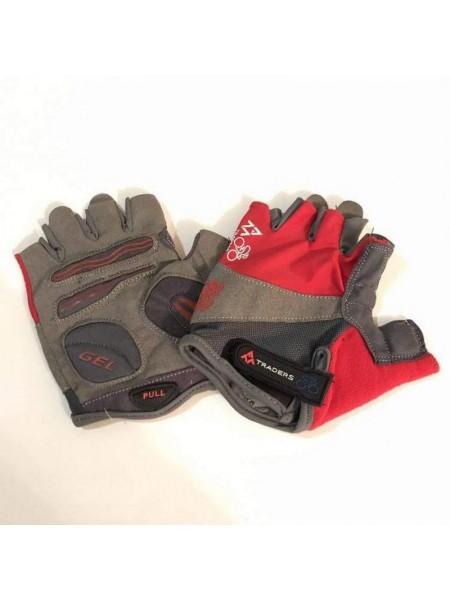 """Перчатки вело """"Traders"""" (без пальцев, гелевые, красно-cерые, size:M)"""