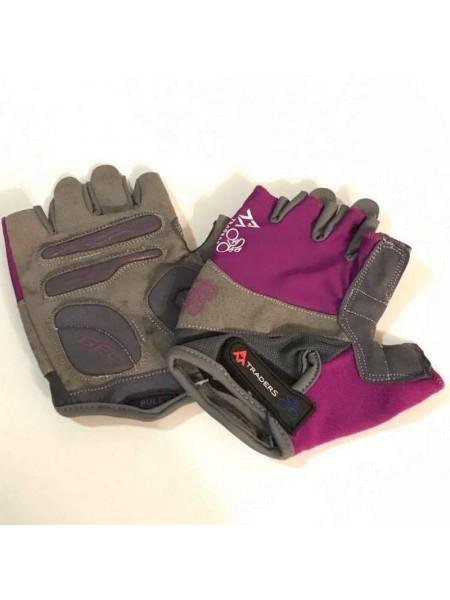 """Перчатки вело """"Traders"""" (без пальцев, гелевые, фиолетово-cерые, size:M)"""