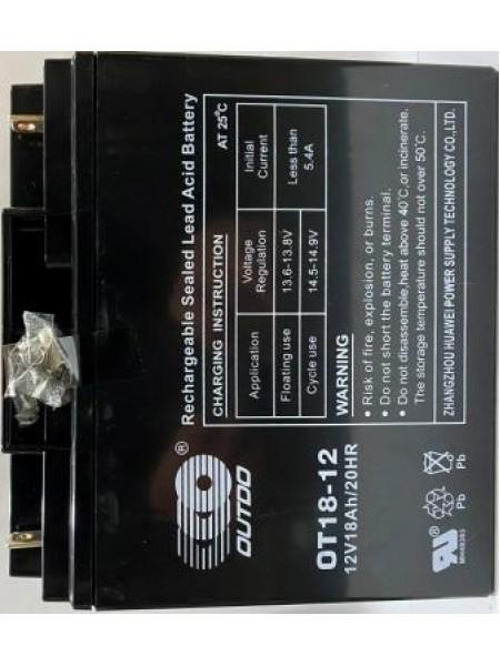 АКБ 12V-18AH пастовый чёрный OUTDO 180*165*75