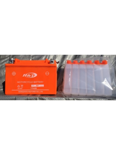 "АКБ 12V 9А ""HT"" скутер заливной оранжевый 106x86x150"