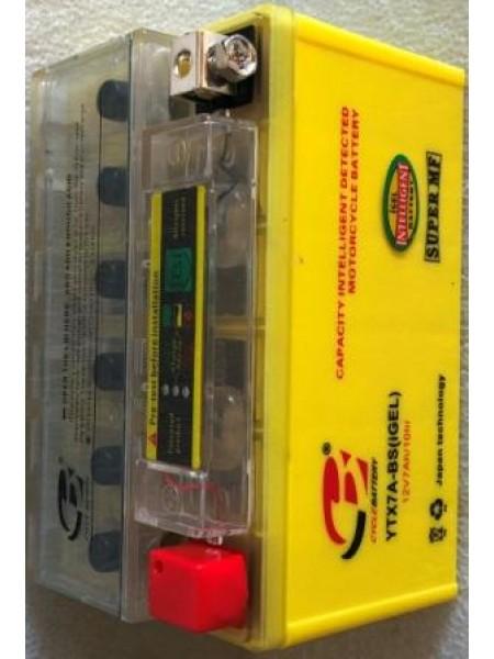 АКБ 12V YTX7A-BS (GEL) желтый с индикатором 95x87x150
